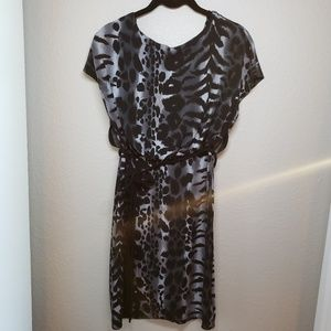 Gray & black animal print dress